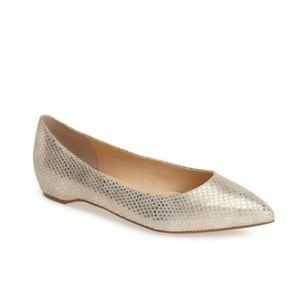 Ivanka Trump 'Chic' Flat in Gold Snake | Size 8.5